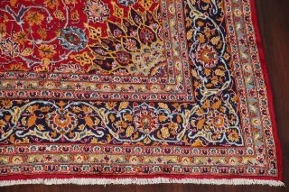Vintage Kashmar Persian Area Rug VIBRANT RED Oriental Hand - Knotted Floral 10x12 7