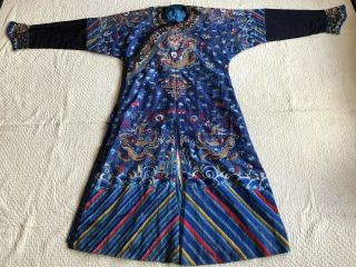Antique Chinese Embroidered Silk Dragon Robe Jifu Qing Dynasty Forbidden Stitch