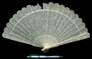 Fine Antique Chinese Canton Brise Export Fan Eventail 清朝 嘉慶帝 Qing Era Ca.  1820