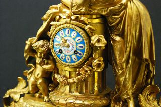 Gorgeous French Gilt Brass Figural Mantel Clock