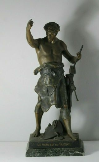Antique 19thc Emile Picoult Bronzed Spelter Shirtless Man Statue