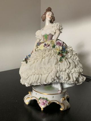 Rare Gorgeous Porcelain Dresden Lace Volkstedt Muller Lady Figurine Germany