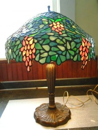 Antique Pink Periwinkle Leaded Glass Lamp By Unique Art Glass & Metal Co