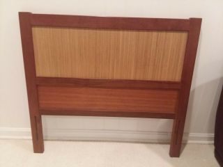 Teak & Cane Danish Mid Century Modern Reversible Twin Bed Headboards