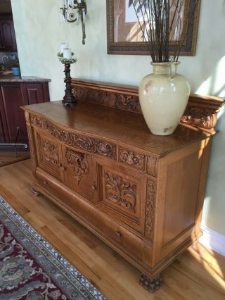 Antique Fancy Oak Server Buffet – Highly Carved