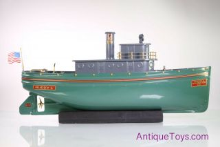 Buddy L Green Tugboat Bl - 14 T - Productions Pressed Steel Boat Pneumatic Toy Ship