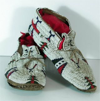 C1880s Pair Native American Cheyenne Indian Bead Decorated Hide Moccasins Beaded