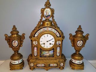 Louis Xvi Gilt Bronze Clock Set Sevres Porcelain Mounted,  Remarkable 19th Ct.