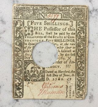 Revolutionary War Connecticut Colonial Note Of Currency 1760 Five Shillings