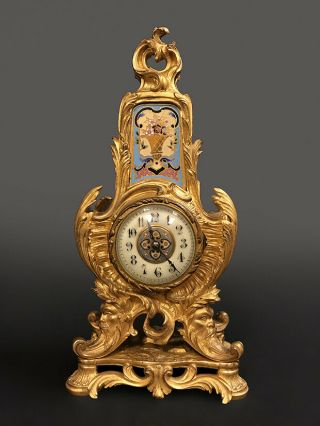 19th C.  French Gilt Bronze & Champleve Table Clock