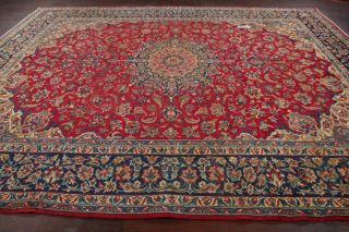 Vintage Traditional Persian Oriental Area Rug Floral Hand - Knotted Red Wool 10x13
