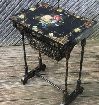 Antique Floral Lacquered Japanned Sewing Table @ 1850 - Stunning Key