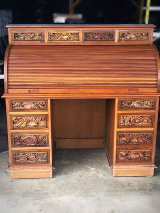 Imported Antique Asian Roll Top Desk