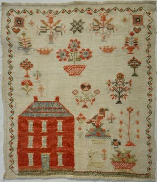 Mid 19th Century Red House & Motif Sampler - C.  1845