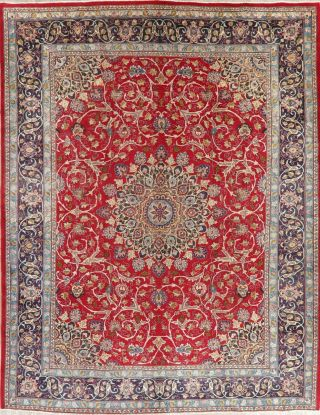 Vintage Traditional Persian Area Rug Hand - Knotted Oriental Red Blue Wool 10x13