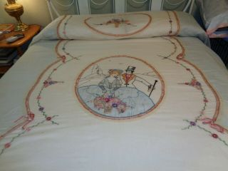 Antique Embroidered,  Lace Coverlet,  Pillow (s) And Dresser Scarf.