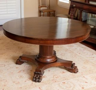 "Huge 54"" Empire Mahogany Split Pedestal Base Claw Foot Dining Room Table"