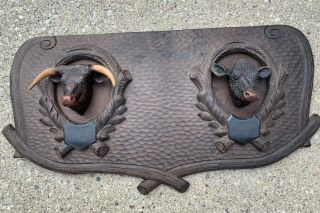 Fabulous Antique Black Forest Carved Wood Panel With Steer & Cow Head Mounts