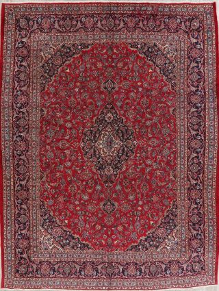 Vintage Traditional Floral Red Persian Oriental Area Rug Hand - Knotted Wool 10x13