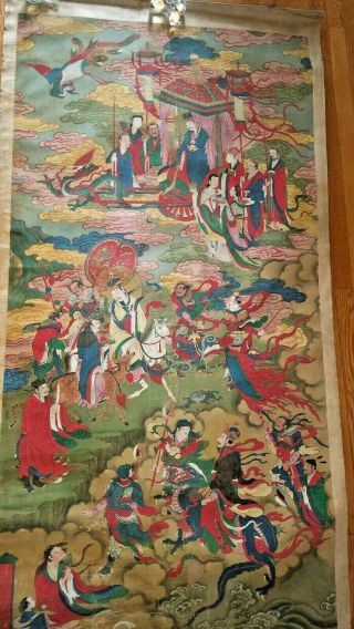 "Antique 19 Century Large Chinese Scroll Painting "" Romance Of The Three Kingdoms """