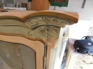 KARGES BREAKFRONT / CHINA CABINET FRENCH PROVINCIAL Hand Painted 4
