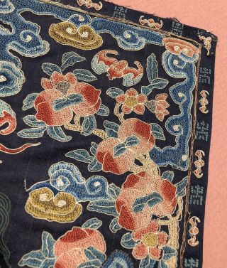 Antique Chinese Embroidered Silk Rank Badge Qing Dynasty mandarin square LION 4