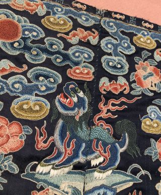 Antique Chinese Embroidered Silk Rank Badge Qing Dynasty mandarin square LION 5