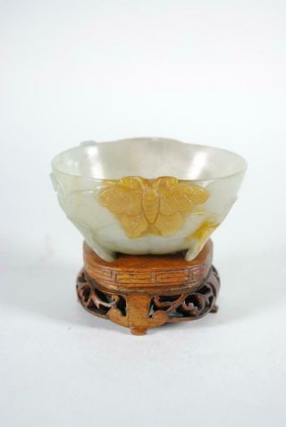 Antique Chinese Jade Jadeite Carved Wine Cup On Stand,  Butterfly,  Russet