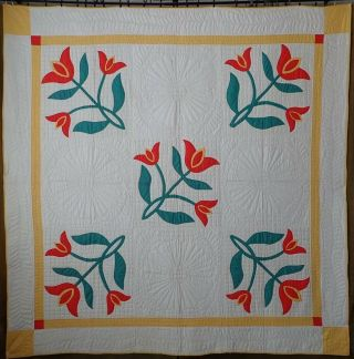 Great Quilting Vintage Orange Triple Tulip Applique Quilt 85x84