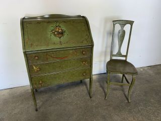 The Udell Queen Anne Style Secretary Desk Hand Painted Flowers Green Chair