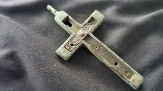Very Rare Post Medieval Bronze/wood Crucifix.  A Must.  L128s