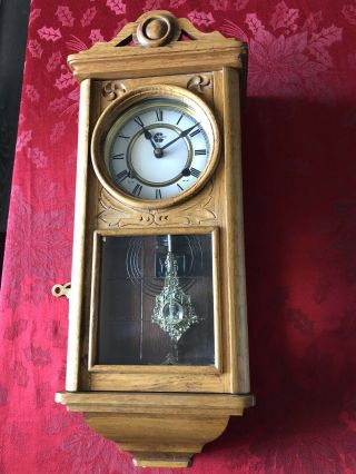 Westminster Chime Wall Clock With Ornate Pendulum & Key