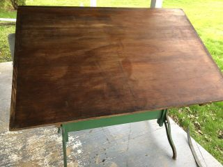 Vintage Hamilton Industrial Drafting Table With Drawer - Oak,  Maple,  Cast Iron