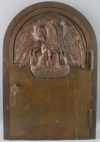 Antique Heavy Bronze Religious Reliquary Tabernacle Door Pelican Nest,  NR 2