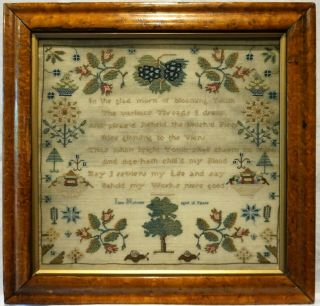 Early 19th Century Verse & Motif Sampler By Jane Holmes Aged 10 - C.  1810