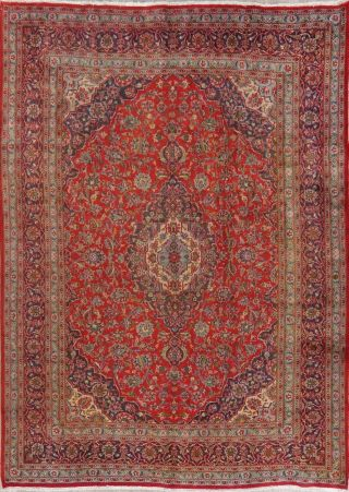 Vintage 8x11 Traditional Floral Persian Area Rug Hand - Knotted Oriental Red Wool