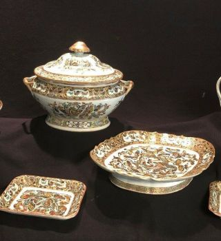 "19th C.  Chinese Hand Painted Porcelain "" 1000 Butterfly "" 4 Piece Serving Set"