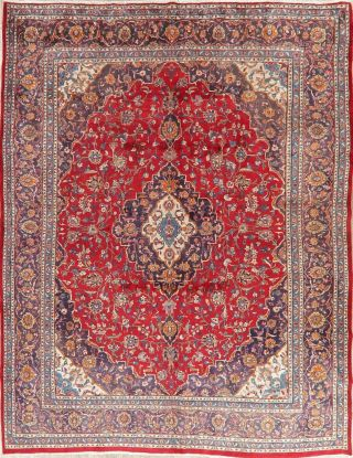 Vintage Hand - Knotted Floral Red 9x12 Kashmar Persian Oriental Area Rug Wool