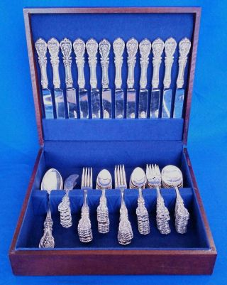 Francis I Reed,  Barton Service For 12 Sterling Silver 85 Piece