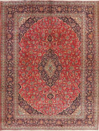 Antique Traditional Floral Persian Area Rug Oriental Hand - Knotted Red Wool 10x13