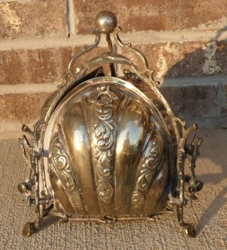 Antique Silver Plate Hand Chased Tri Fold Clam Shell Bun Warmer Biscuit Box