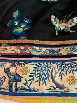 Incredible Antique Chinese Japanese Asian Silk Embroidered Robe Textile Kimono 2