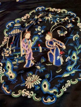 Incredible Antique Chinese Japanese Asian Silk Embroidered Robe Textile Kimono 3