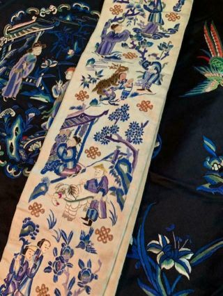 Incredible Antique Chinese Japanese Asian Silk Embroidered Robe Textile Kimono 4