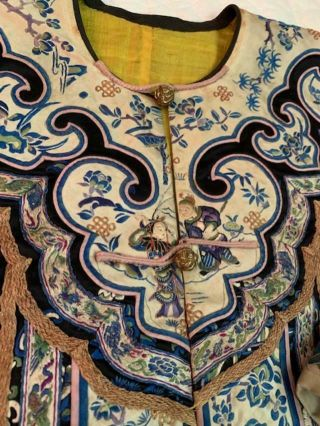 Incredible Antique Chinese Japanese Asian Silk Embroidered Robe Textile Kimono 6