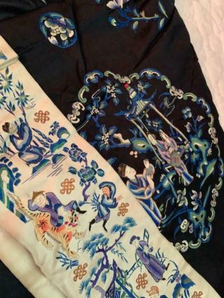 Incredible Antique Chinese Japanese Asian Silk Embroidered Robe Textile Kimono 7