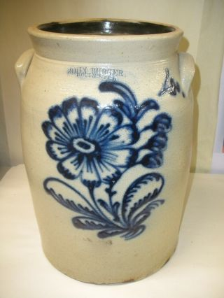 Antique Glazed Saltware Stoneware 4 Gallon Crock Churn John Burger Rochester Ny