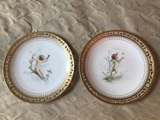 Minton Reticulated And Gilt Cherub Cabinet Plates.  Signed By Boullemier.