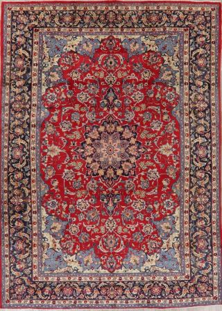 Traditional Floral Vintage Persian Area Rug Oriental Hand - Knotted Red Wool 10x13