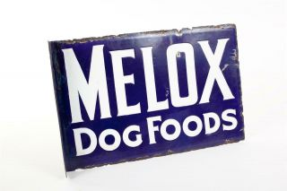 "Vintage C1910 "" Melox Dog Food "" Double Sided Enamel Sign"